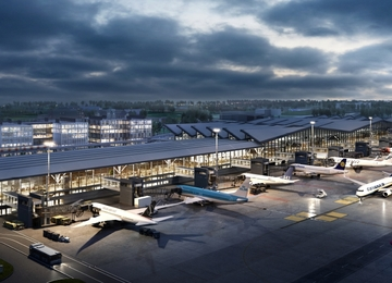 The cornerstone was laid under the Airport City Gdańsk Alpha building